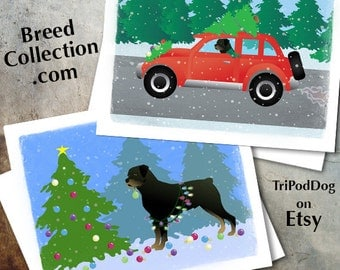 Rottweiler Dog Christmas Cards from the Breed Collection - Digital Download  Printable