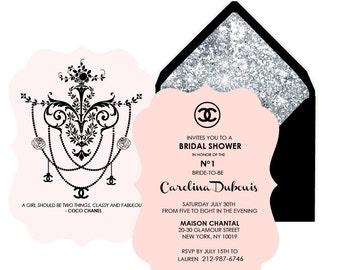 Coco Chanel Bridal Shower invitation. PDF file. Printing available.