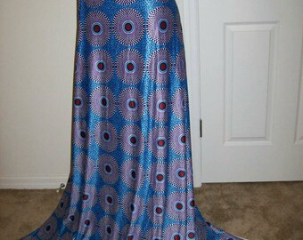 Blue Record Print African Jersey stretch fabric per yard/ Leggings fabric/ Ankara Jersey fabric/ African Swim wear fabric/ Lingerie fabric
