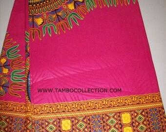 Fuchsia pink dashiki fabric 2 Yards per Panel/ Dashiki clothing/ Accessories/ Dashiki Bags/ Kitenge fabric/ Java print