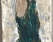 Abstract Art / Woman / Stepping into Water / Original Painting / Small Art / Red Hair / Sensual / Green Robe / Accent Piece