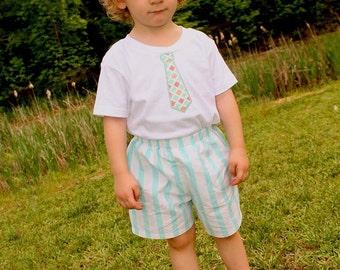 Boys Shorts - Boys Tie Shirt - Boys Clothing - Sibling Sets - Brother Sister Sets - Applique Tie Shirt - Boys Stripe Shorts - Boys Outfit