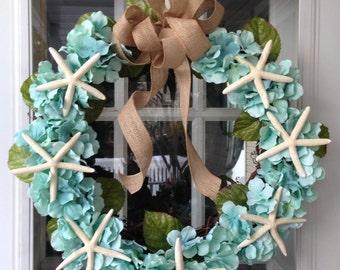 Turquoise Hydrangea Starfish Coastal Wreath