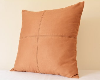 Tan Color Suede Pillow with Stitch Detail , Tan Decorative Pillow , Tan Suede Leather Throw Pillow , Tan Suede Cushion Cover
