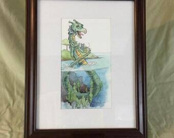 Loch Ness Monster Original Watercolor Illustration