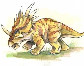 Styracosaurus Dinosaur Watercolor Print