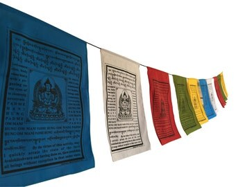 Large Handmade Tibetan Buddha of compassion Prayer flags Tibetan with English Translation (9X12)