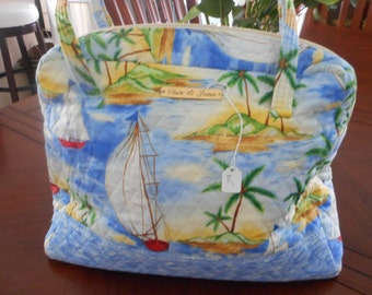 bag sailing design blue palms trees boats
