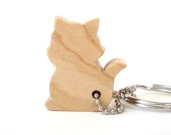 Cat Key Chain Wood Scroll Saw Outline Animal Keychain Kitty Silhouette Cat Key Ring Pet Key Chain Cat Key Fob Maple