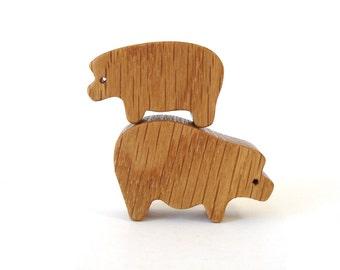 Wood Toy Pig Miniature Noah's Ark Animals Farm Play Set Pig Figurine Boar Sow Waldorf Pig Cutout Oak