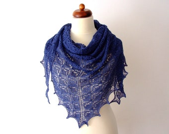 blue lace shawl, delicate alpaca silk triangle wrap, luxurious, bridal cover up, something blue