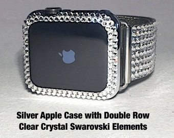 38mm or 42mm Silver Apple Watch Case Double Row Clear Crystal Swarovski Elements  Bling Protection Case for iwatch must have pretty Bezel