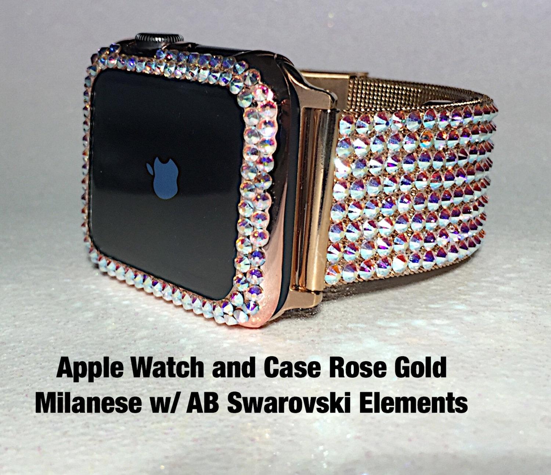 rose gold apple watch mega bling band bezel case w ab crystal