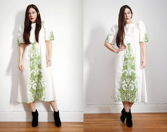 Vintage 70s White Floral Mexican Dress Embroidered Oaxaca Maxi Caftan Dress Sz S M