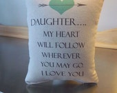 Daughter gift cotton canvas pillow birthday gift Valentine s gift daughter throw pillow love quote cushion typography word art pillows