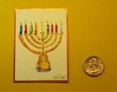 """MENORAH ACEO in Watercolor (2.5 X 3.5"""")"""