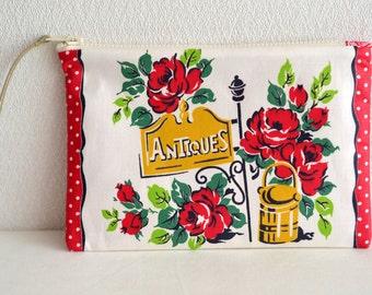 Vintage retro zipper pouch - roses cafe - cosmetic pouch, pen case, zip closure