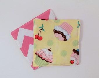 Cupcakes and Cherries Fabric Coaster Pair Mug Mats Set of Fabric Drink Coasters Cherry Fabric Coasters