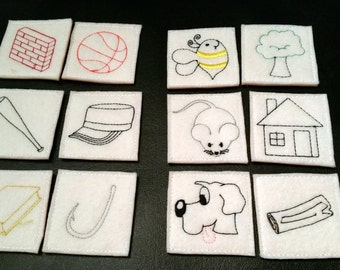 Felt & Foam Rhyming Game, Matching Game, Learning Game, Educational Game, Learning center, Kids Learning Game, Teacher Gift, Ready to Ship