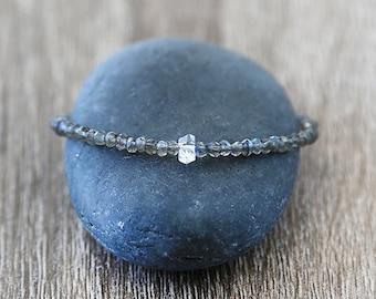 Sleek Labradorite Bracelet with a Herkimer Diamond Center / Sterling Silver / 14K Gold Filled / Rose Gold /Stackable Gemstone Bracelet