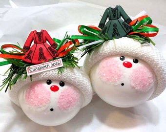 IRELAND SOUVENIR Christmas Ornaments Traditional Irish Dress Red Green Color Personalized Townsend Gifts - BR