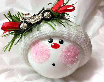 MOTORCYCLE CHRISTMAS Ornaments Personalized Hand Painted Handmade Themed by Townsend Custom Gifts - BR
