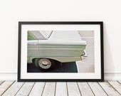 Original Vintage Falcon Car Photography, FILM Photography Car Photo, Green Sorbet Vintage Car, Old Ford, Old Falcon Car Photo, Gift for Male