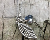 Dainty Silver Leaf Pendant, Blue Crystal, Grey Pearl, Layering Necklace, Boho Jewelry, Nature Lover, Silver Chain, Charm Jewelry