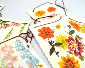 Spring Flower Bunting - from book and buttons - upcycled -H-