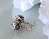 "1 1/4"" drop cloisonne pink & Green bead earrings Rose gold metals"
