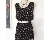 Festival Outfit Matching set black floral daisy crop top and high waist racer shorts
