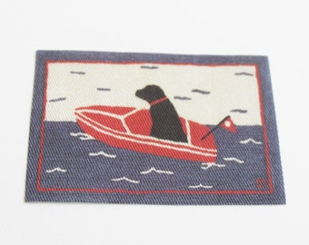 Dollhouse Miniature Rug Black Lab in Boat in One Twelfth Scale