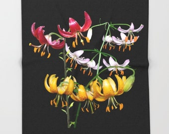 Martagon Lily flowers throw blanket, floral photograph, gift for gardener, pink, red, gold flower, nature photograph, fleece throw, gardener