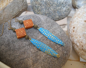 Boho Style Resin Antique Brass Turquoise Patina Earrings