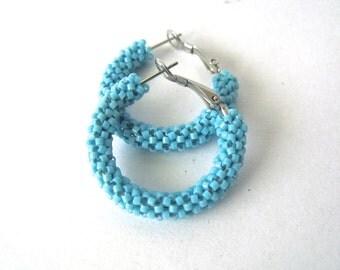 Blue beaded earrings | turquoise blue hoop earrings | blue  jewelry | woven seed bead earrings | glass beaded earrings | summer earrings