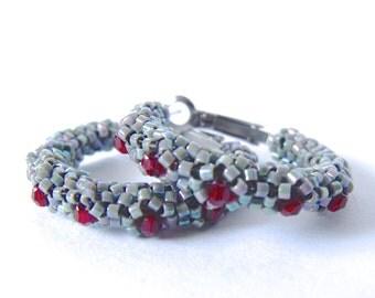 Gray hoop earrings | beaded gray earrings | woven beaded gray jewelry | beaded red crystal hoops | beaded glass earring