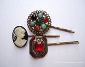 Vintage earring hair clip - Victorian art deco red black antique gold cameo turquoise blue stone jeweled embellish decorative hair accessory