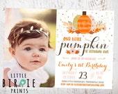 GOLD PUMPKIN BIRTHDAY Invitation Gold pumpkin first birthday invitation Girl Pink and Gold Pumpkin Invitation Glitter Pumpkin Invitation