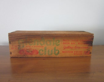 Vintage Wood Cheese Box, Glendale Club, Pauly Cheese Co, Green Bay, WI, Vintage, Rustic, Farmhouse