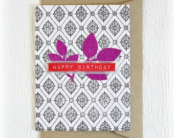 Damask birthday card// handmade greeting card //  pink glittered leaves and black & white damask pattern