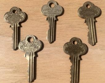 Vintage P&F Corbin Keys - Set of 5