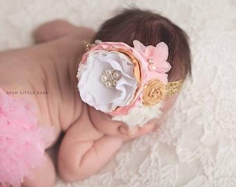 Baby Headband, Headband, Pink and Gold Headband, Headbands for Baby Girls, Flower Headband, Vintage Headband, Photo Prop, Baby Headbands