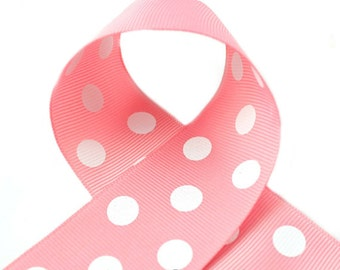 Peony Polka Dot Ribbon 7/8 inch Polka Dot Grosgrain Ribbon - Polka Dot Ribbon, Polka Dot Hair Bow, Polka Dot Bow, Ribbon By The Yard