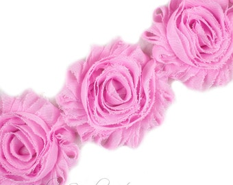 Light Pink Lavender Shabby Rose Trim 2-1/2 inches - Light Pink Shabby Flowers, Light Pink Flower Headband, Light Pink Fabric Flower