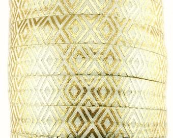 Gold Tribal Fold Over Elastic - Fold Over Elastic, Hair Elastic Bracelet, Elastic, Hair Elastic Tie, Elastic Ribbon, Elastic Hair Band