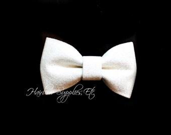 Iridescent White Glitter Bows 3 inch- Glitter Hair Bow, Glitter Bows, Glitter Bow Headband, Glitter Bowtie, Glitter Hair Clip, Glitter Bow