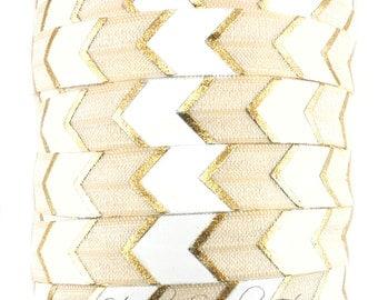 Ivory Gold Arrow Fold Over Elastic- Fold Over Elastic, Hair Elastic Bracelet, Elastic, Hair Elastic Ties, Elastic Ribbon, Elastic Hair Bands