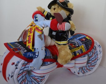 Fireman Motorcycle Diaper Cake, Fire Fighter, Baby Gift, Heroes, Baby Shower Gift, Centerpiece, Baby Cake, New Baby