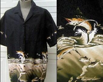 Vintage Black Sailfish BAIT BALL Novelty Print Shirt - Winnie Fashion Hawaii - XL 100% Cotton
