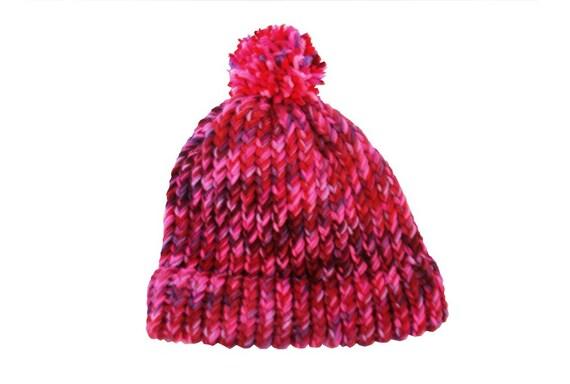 Beanie hat with pom pom for girls, handknit, red, pink, purple, item TRV3